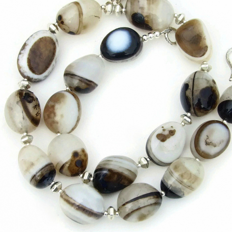banded eye agate gemstone necklace