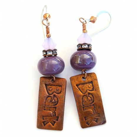 """One of a kind dog rescue earrings featuring copper """"bark"""" charms."""