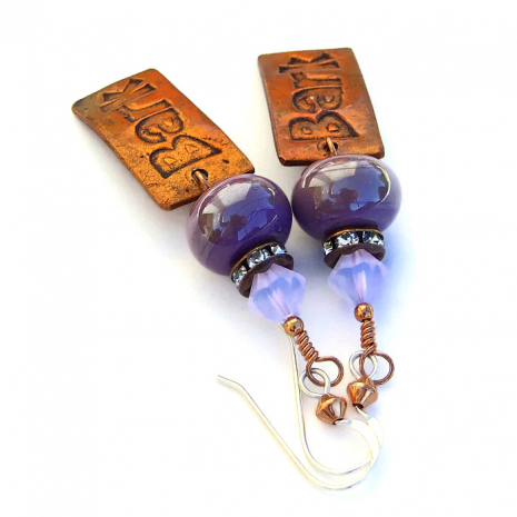 Unique bark charm, lampwork and crystal handmade dog rescue earrings.