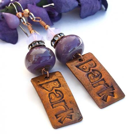 Bark Dog Rescue Handmade Earrings, Copper, Purple Lampwork Artisan Jewelry