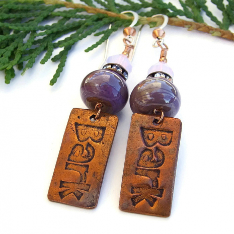 Artisan bark earrings where a donation is made to the Humane Society when sold.