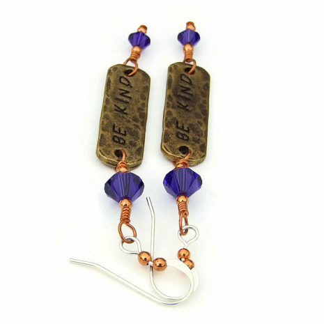 be kind inspirational earrings for her
