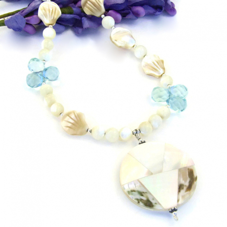 Mother of pearl and blue quartz necklace.