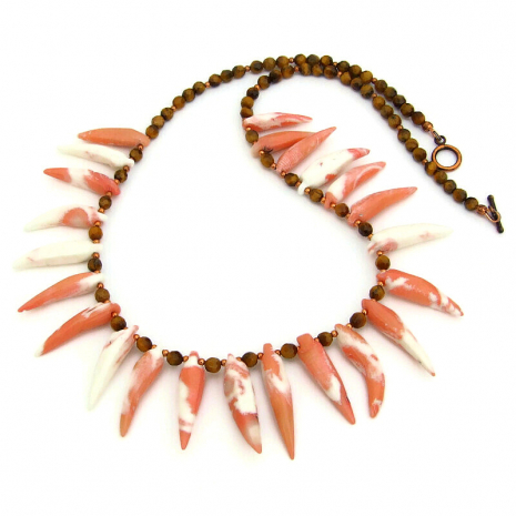 beach necklace bamboo coral spikes tigers eye gemstones