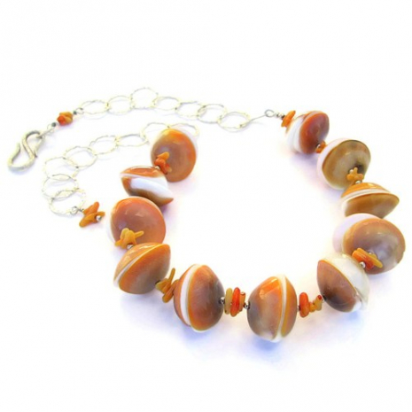 chunky shiva shell and coral beach necklace