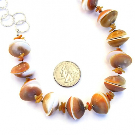 orange shiva shell, coral and sterling silver necklace.