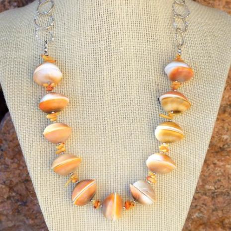 artisan handmade shiva shell and coral beach jewelry