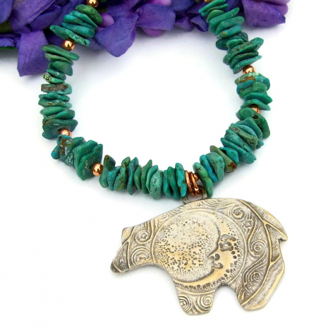 bear moon spirals pendant jewelry real turquoise copper