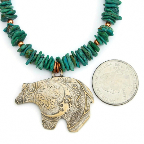 bear moon spirals pendant necklace real turquoise copper