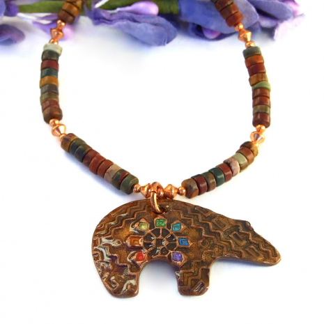 bear pendant necklace with gemstones