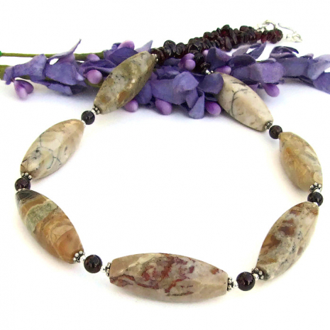 beautiful african opal and red garnet gemstone jewelry Mothers Day gift