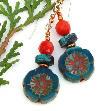 aqua flower turquoise and red coral earrings