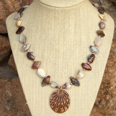 beautiful copper feather pendant necklace and mixed agate nuggets gift for her