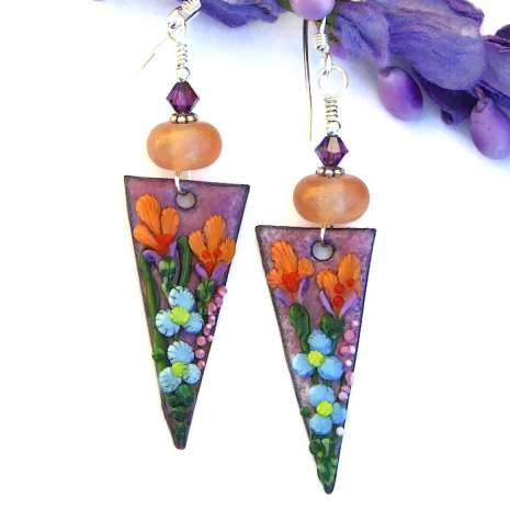 colorful flower earrings for her