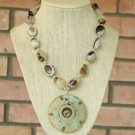 jade lotus seed pod pendant necklace with banded eye agate