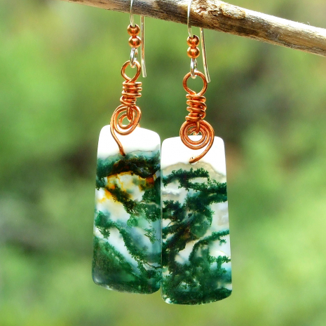 beautiful moss agate gemstone handmade earrings with copper spirals