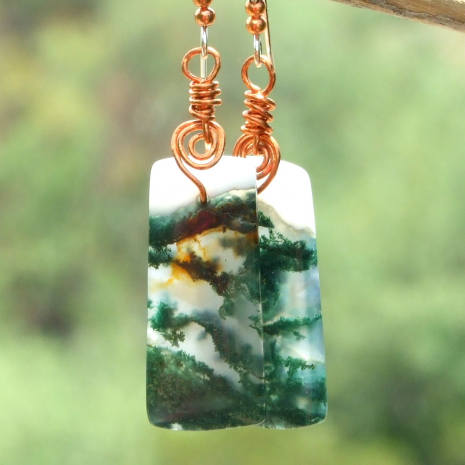 beautiful moss agate gemstone handmade jewelry with copper spirals
