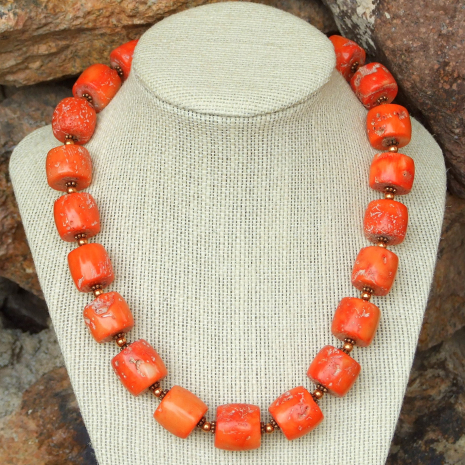 chunky orange coral and copper necklace gift idea