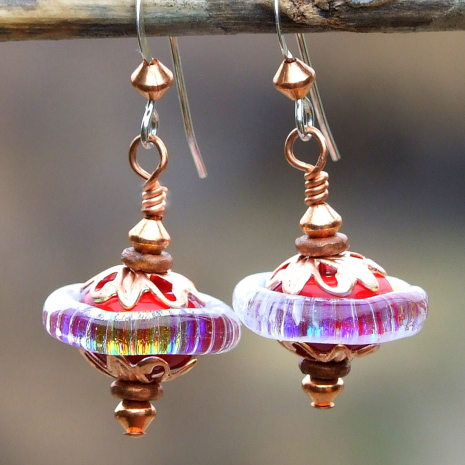 red lampwork glass with rainbow dichroic earrings gift for her