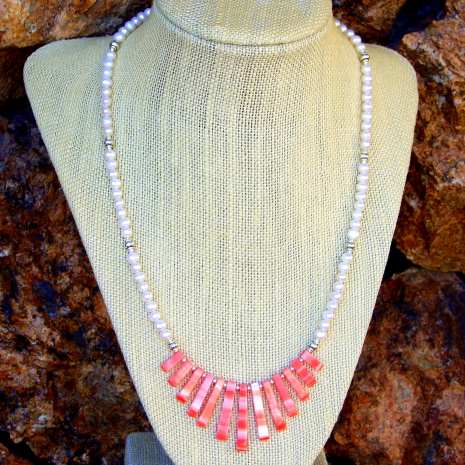 Handmade graduated shell fan and pearl beach style necklace