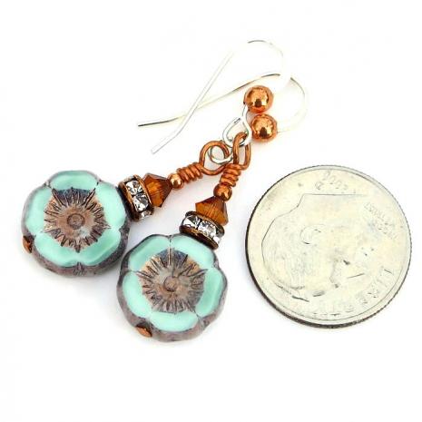 Artisan handmade flower earrings with crystals.
