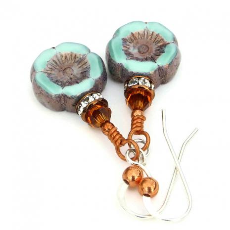 Handmade flower earrings jewelry