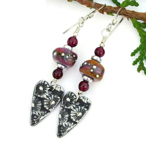 One of a kind Valentines flower hearts earrings with lampwork glass.