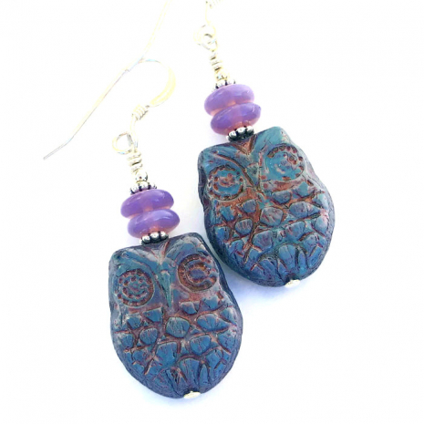 Owl earrings for women.