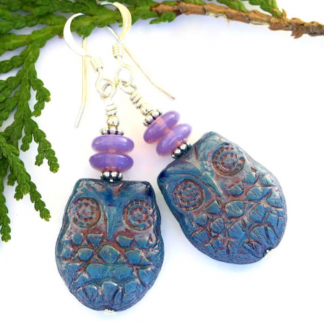 Blue opal and lavender opal owl earrings.