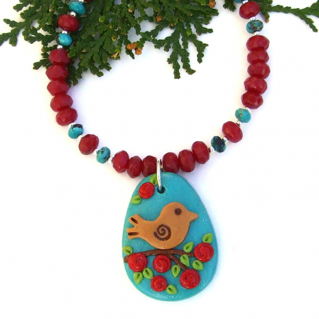 bird and flowers jewelry with ruby quartz and turquoise gift for her