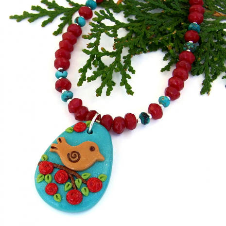bird and flowers necklace with ruby quartz and turquoise gift for her