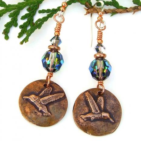 bird lover earrings hummingbirds swarovski crystals