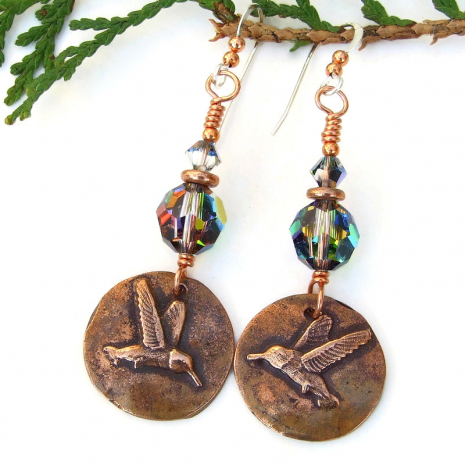 bird lover jewelry hummingbirds swarovski crystals