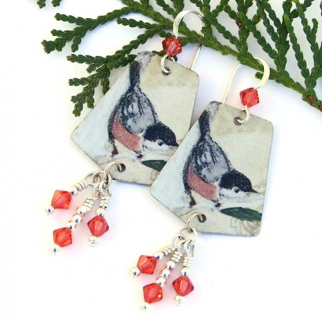 vintage tin bird earrings with Swarovski crystals