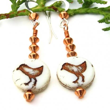 bird peeps sandpiper handmade earrings czech glass copper