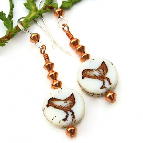 bird peeps sandpiper handmade jewelry czech glass copper