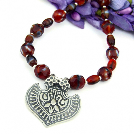 lotus flower and ibis birds necklace with czech glass