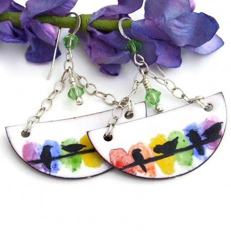 birds on a wire enamel earrings swarovski crystals sterling chain