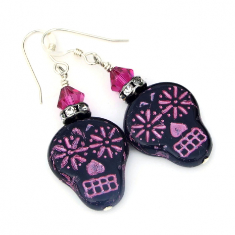 black and pink sugar skull earrings day of the dead gift for women