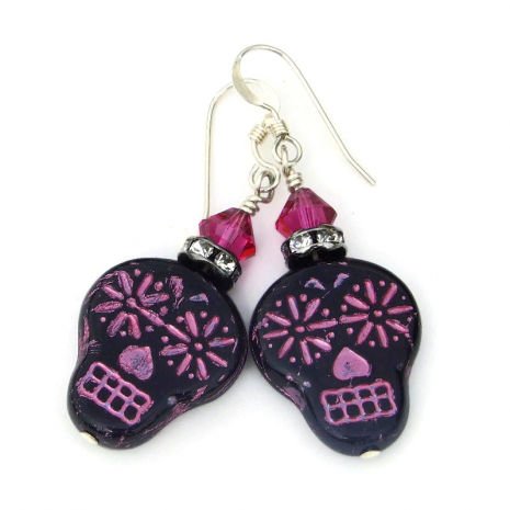 black and pink sugar skull jewelry day of the dead gift for women