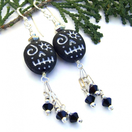 black and silver halloween earrings with swarovski dangles