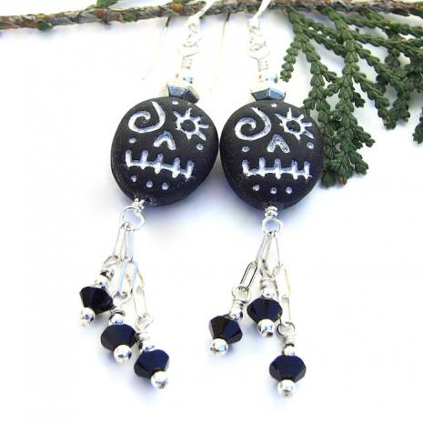 black and silver halloween jewelry with swarovski dangles