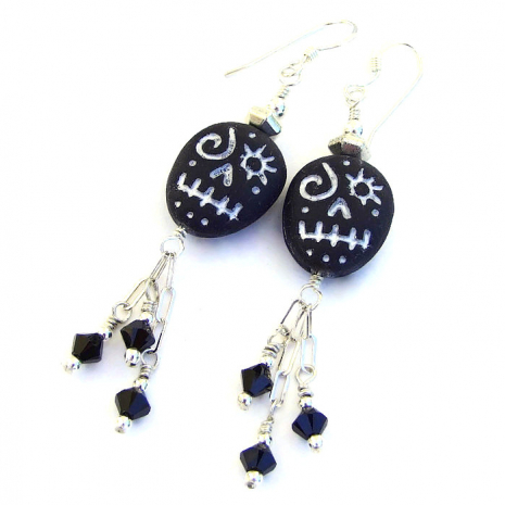 black and silver voodoo skull earrings gift for her