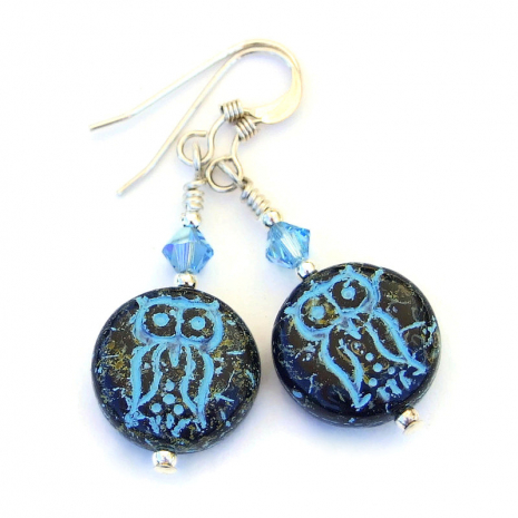 black and turquoise blue owl earrings gift for women
