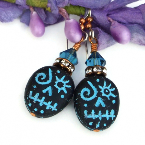 black and turquoise halloween skull earrings with crystals