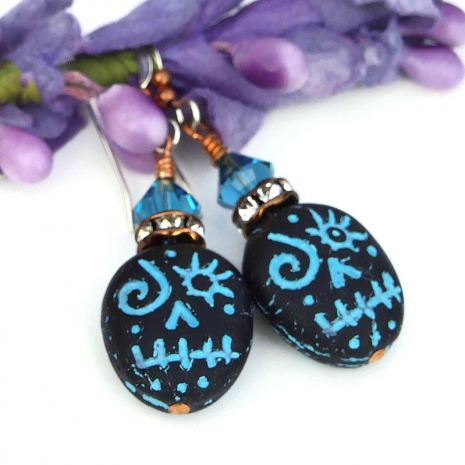 black and turquoise halloween skull jewelry with crystals