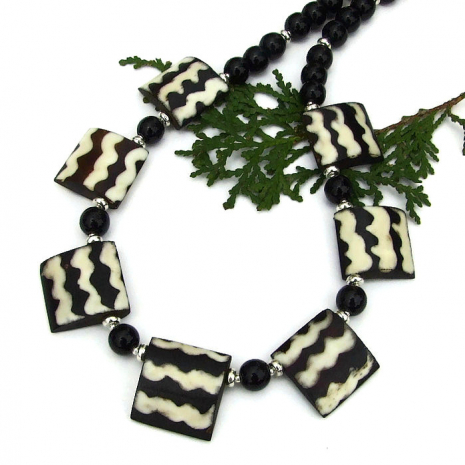 black and white african batik bone boho jewelry with gemstones