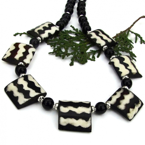 black and white african batik bone boho necklace with gemstones