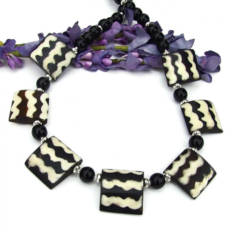 black and white african flag bead boho necklace gift for women