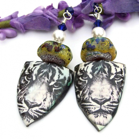 black and white tiger jewelry with rustic lampwork glass